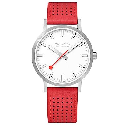MONDAINE 瑞士國鐵Classic經典系列腕錶-40mm/櫻桃紅