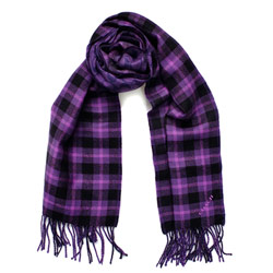 COACH紫黑格紋C Logo流蘇羊毛保暖長圍巾(183x30.5)