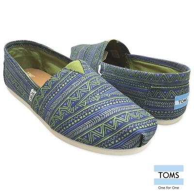 TOMS-民族圖騰帆布懶人鞋-男款-藍