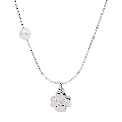Majorica西班牙珠寶 四葉幸運草珍珠銀色項鍊