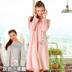 睡衣 精梳棉柔針織 長袖連身睡衣(65206)麻灰色 蕾妮塔塔
