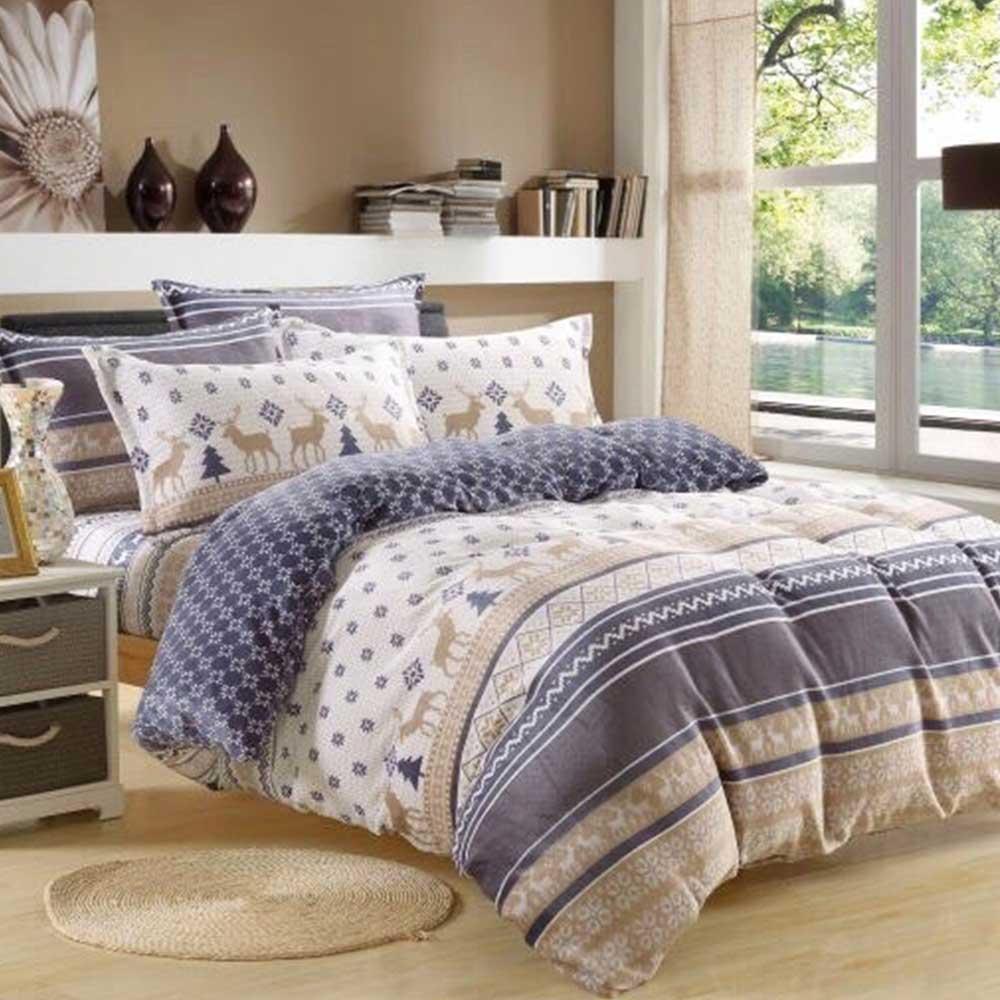 Ania Casa 超保暖法蘭絨-加大床包被套四件組-調皮小鹿