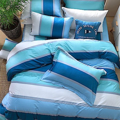 OLIVIA  丹尼爾 藍  單人床包美式枕套兩件組