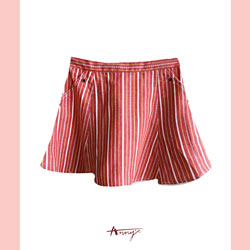 Annys海洋風條紋麻繩設計口袋短裙*7318紅