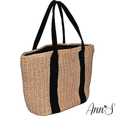 Ann'S野餐吧-黑色雙織帶竹編托特包-棕