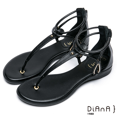 DIANA 簡約韓風--金屬水滴型鏤空夾腳涼鞋–黑