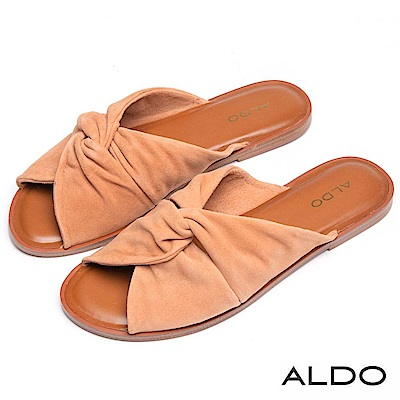 ALDO 原色真皮蝴蝶雙扭結露趾休閒涼拖鞋~內斂棕色