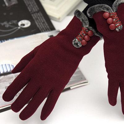 ACUBY-二指觸控鈕扣時尚手套-酒紅