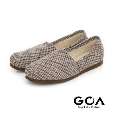GOA 格紋毛呢內刷毛輕便鞋-藍格紋