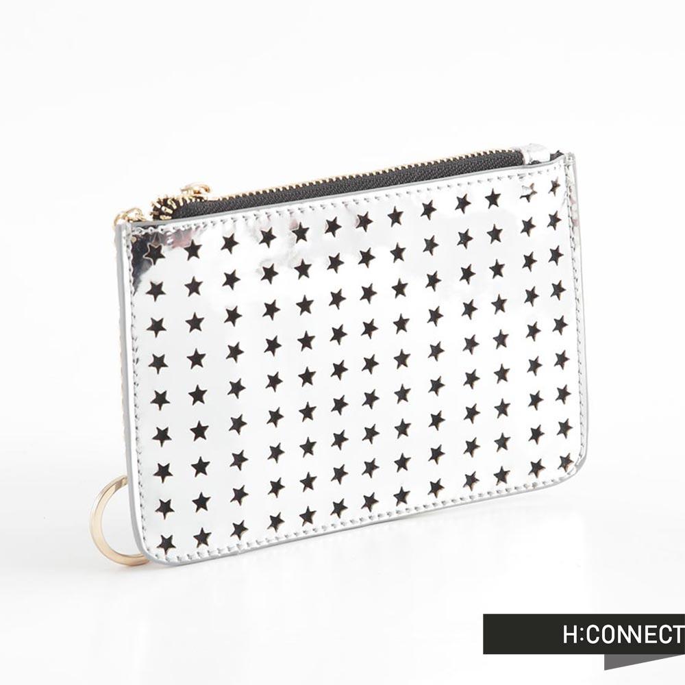 H:CONNECT 韓國品牌 星星鏤空鑰匙零錢包 - 銀