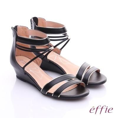 effie個性涼夏 金箔真皮一字帶楔型涼鞋 黑色