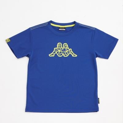 KAPPA義大利小朋友吸濕排汗速乾彩色圓領衫~科技藍色