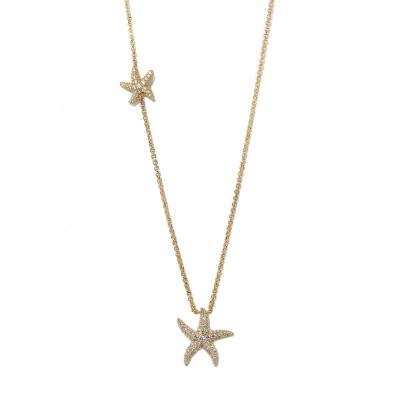 apm MONACO法國精品珠寶 閃耀金色海星鑲鋯可調整長項鍊
