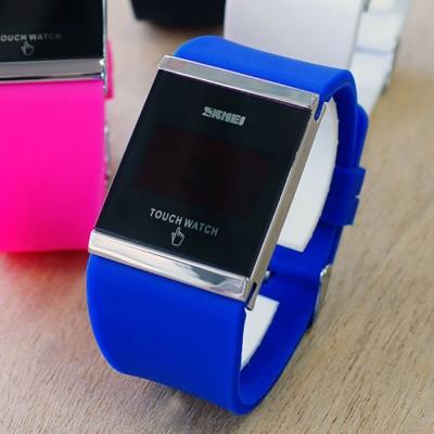 SKMEI時刻美 繽紛果凍LED多彩時尚觸控智能電子錶-藍