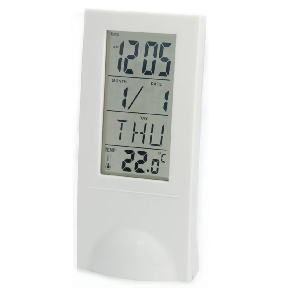 便利社 大字幕簡約透明萬年曆 時間 溫度 鬧鐘