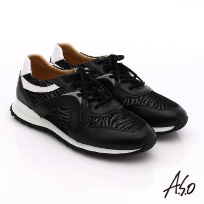 A.S.O 輕量抗震 真皮網布拼接活力休閒鞋 黑