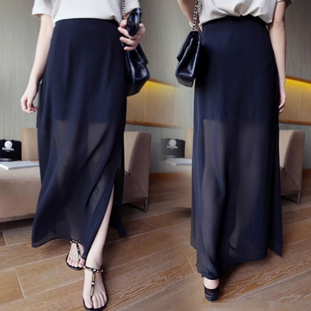 La Belleza 雪紡開叉長裙內附短裙包臀裙側開叉性感透膚長裙