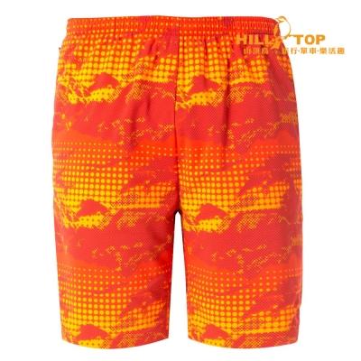 【hilltop山頂鳥】男款抗UV吸濕排汗彈性短褲S09M65橘紅印花