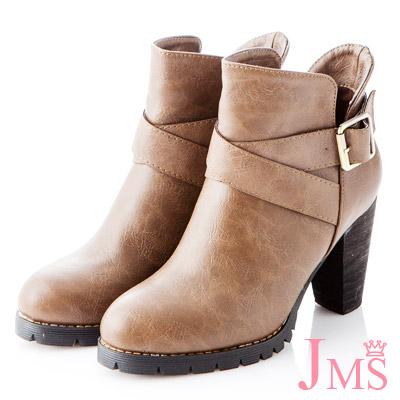 ☆JMS☆纖腿美型交叉扣環高跟短靴-咖啡色