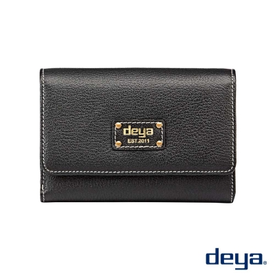 deya 波爾卡 簡約時尚真皮磁扣短夾  黑色