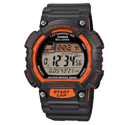 CASIO 太陽能全方位新元素運動風數位錶(STL-S100H-4A)-黑x橘錶框/44mm
