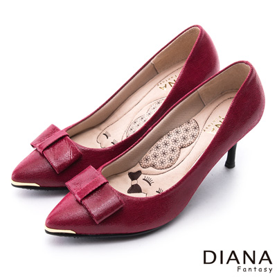 DIANA 漫步雲端LADY款--蝴蝶結尖頭真皮跟鞋-桃紅