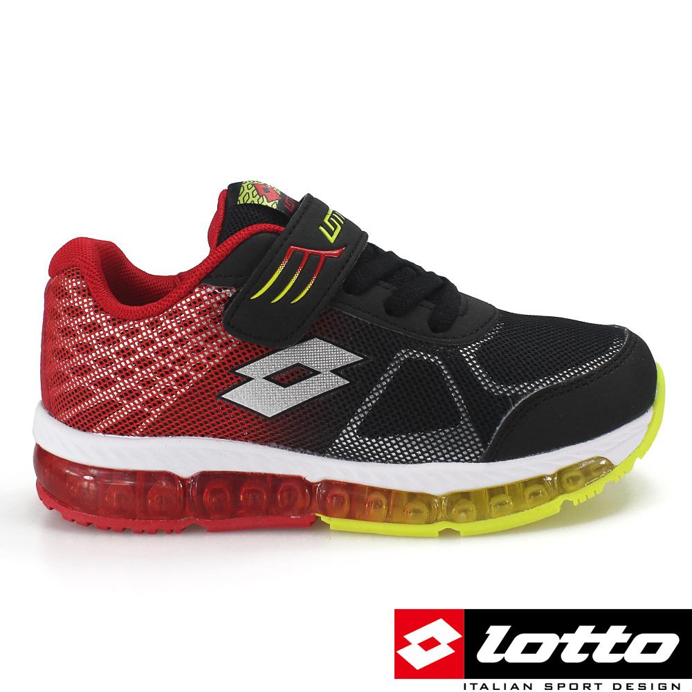LOTTO 義大利 童G MAX避震彈力膠跑鞋(二代)-黑/紅