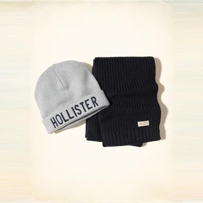 Hollister HCO 海鷗 經典刺繡文字毛帽圍巾組-深藍灰色