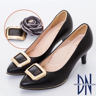 DN 優雅甜心 雙飾扣2way氣質真皮跟鞋-黑