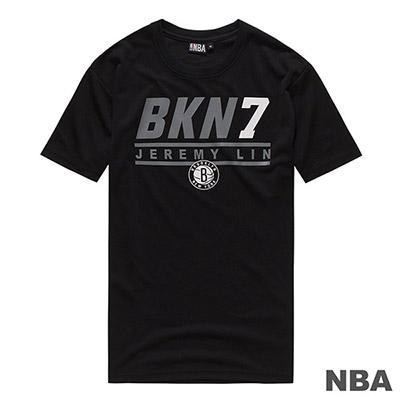 NBA 林書豪籃網隊經典印花快排短T-黑 (男)