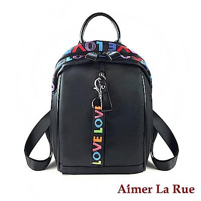 Aimer La Rue 後背包 牛津素雅LOVE系列(黑色)