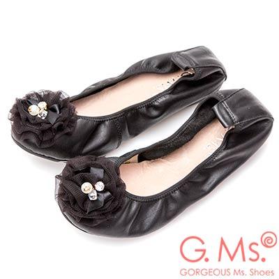G.Ms. 手工水鑽蝴蝶結網紗牛皮彎折娃娃鞋-黑色