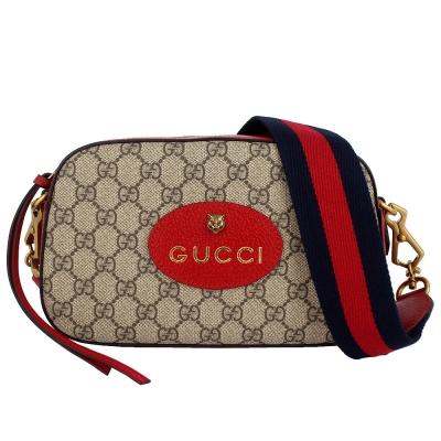 GUCCI GG Superme 老虎標誌紅色織帶帆布斜背包