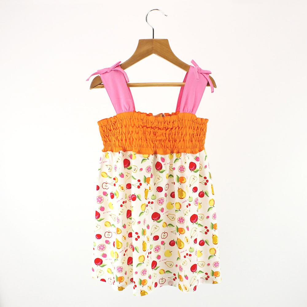 愛的世界 MYBABY 純棉水果百匯肩帶露背洋裝/4~6歲