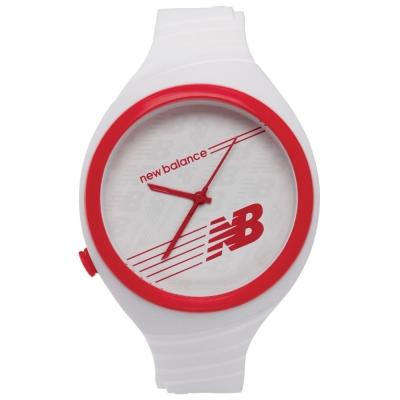 New Balance 502系列 NB LOGO運動秒針矽膠造型錶-紅白/40mm
