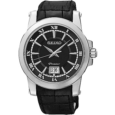 SEIKO Premier 羅馬主義大視窗時尚皮帶腕錶-黑/40mm