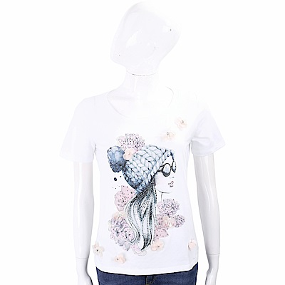 ANNA RACHELE 立體花細節鑽貼女孩白色棉質T恤