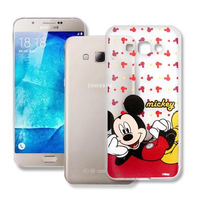 迪士尼授權 Samsung Galaxy A8 透明軟式手機殼(悠閒米奇)
