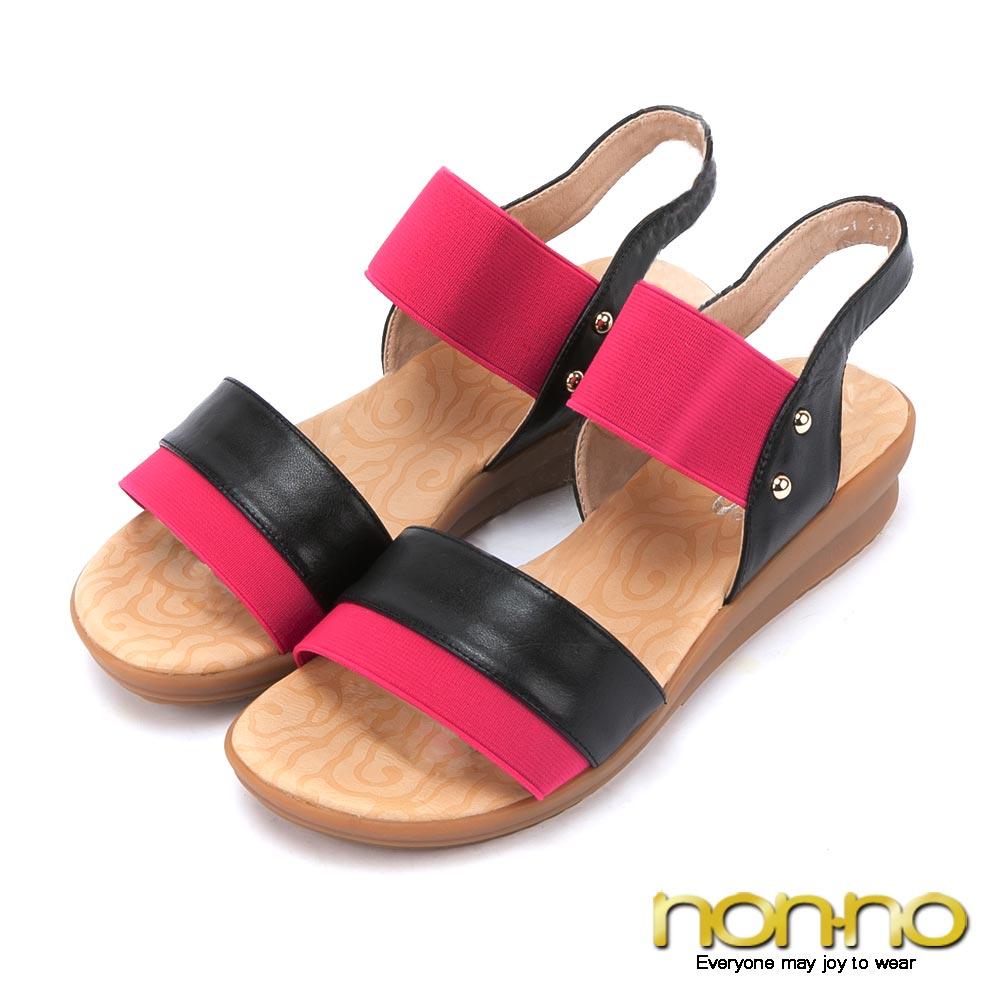 nonno 歐美時尚 撞色金屬釦飾寬版彈性繃帶涼鞋-桃紅