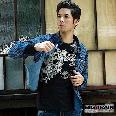 BIG TRAIN 加大和風舞雲龍羅紋束口長袖T-男-黑色