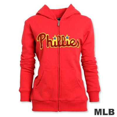 MLB-費城費城人貼布繡厚棉外套-紅(女)
