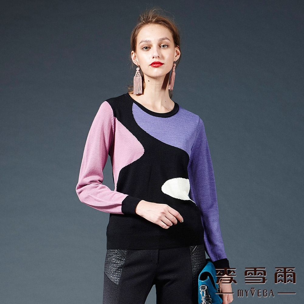 麥雪爾 多色混搭針織上衣-紫