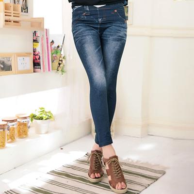 【La Belleza】名模細腿‧仿牛仔刷白圖繪黃色車線窄管內搭褲