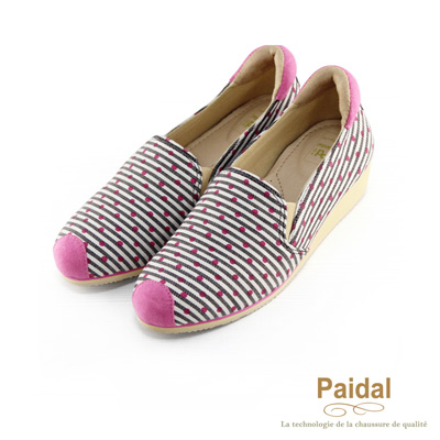paidal條紋點點小鼻帆布厚底高台休閒鞋樂福鞋-粉