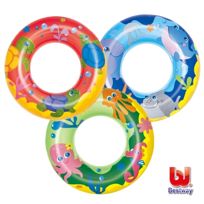 《凡太奇》Bestway。海洋系列- 20 吋泳圈-藍/綠/紅(隨機出貨)-快速到貨