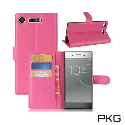 PKG SONY XZ1 側翻式皮套-經典皮套系列-玫粉