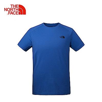 The North Face北面男款藍色排汗透氣運動短T恤