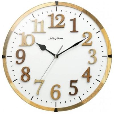 日本麗聲 RHYTHM 木紋立體刻度 靜音掛鐘(CMG130NR06)-白/30cm
