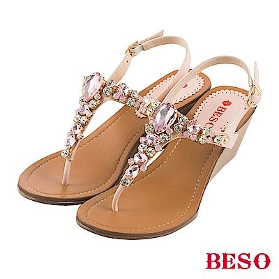 BESO 璀璨奢華 閃耀立體水鑽寶石T帶楔型涼鞋~粉