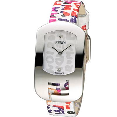 FENDI CHAMELEON 塗鴉邂逅時尚腕錶-白/29x49mm